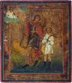 Seltene Ikone  Erzengel Raphael mit dem jungen Tobias