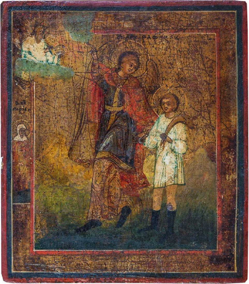 Seltene Ikone - Erzengel Raphael mit dem jungen Tobias