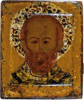 Bedeutende Ikone mit dem Heiligen Nikolaus von Myra
