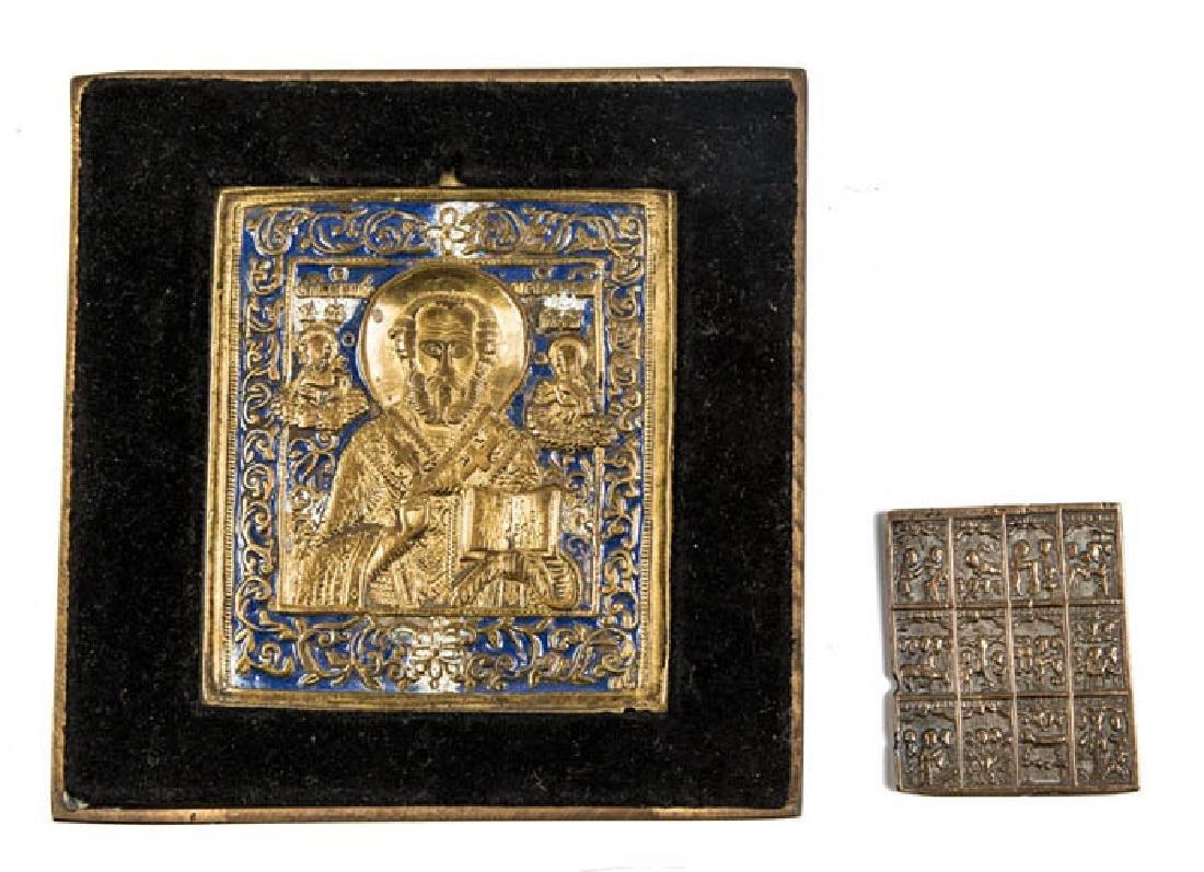 Zwei Bronzeikonen - Heiliger Nikolaus von Myra und 12