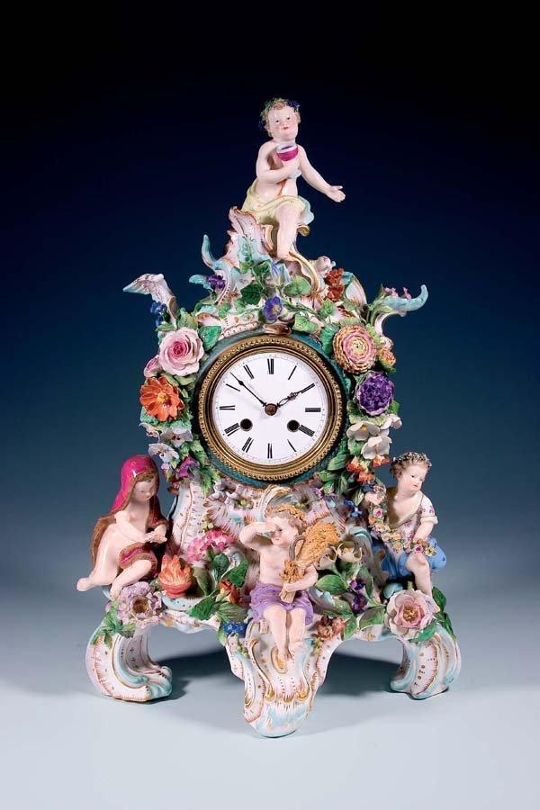 2: Kaminuhr Meissen 1860 mantel clock