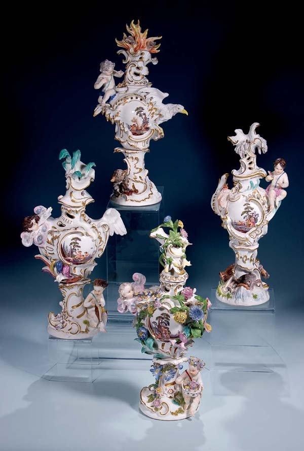 4: Vier Vasen Meissen 18. Jh four Vases 4 elements