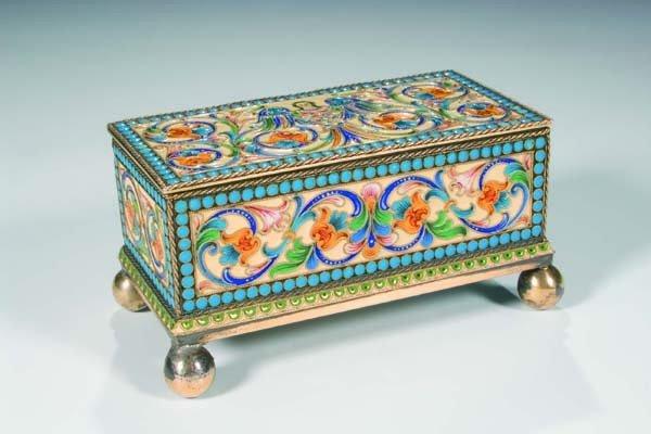 600: Cloisonnee enamel box St. Petersburg