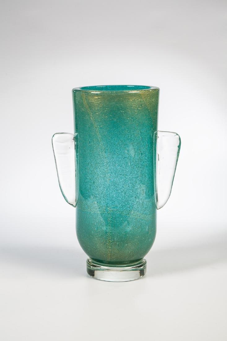 Vase ''Sommerso a bollicine con inclusione di foglia
