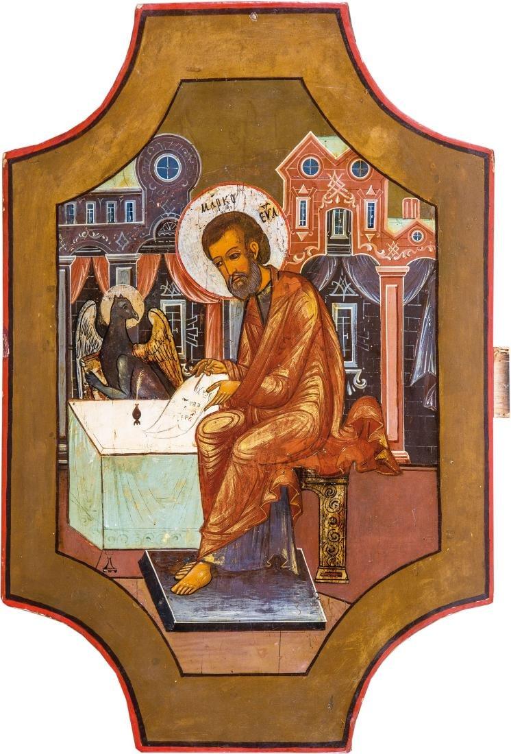 Großformatige Ikone mit dem Evangelisten Markus