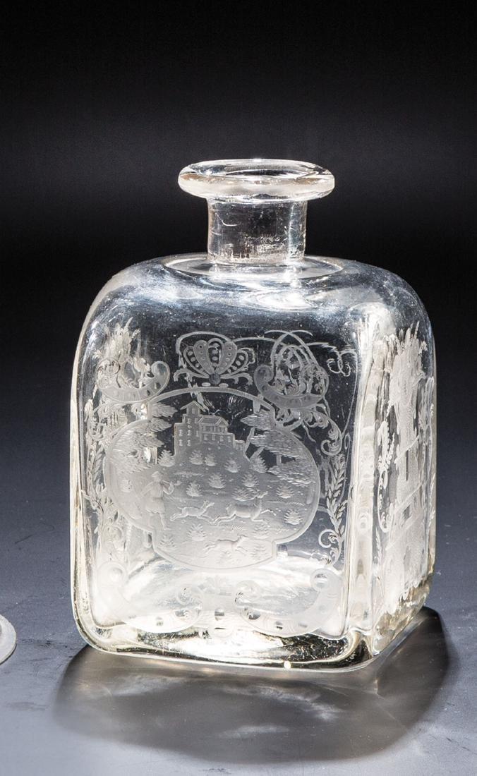 Vierkantflasche mit Jagdszene