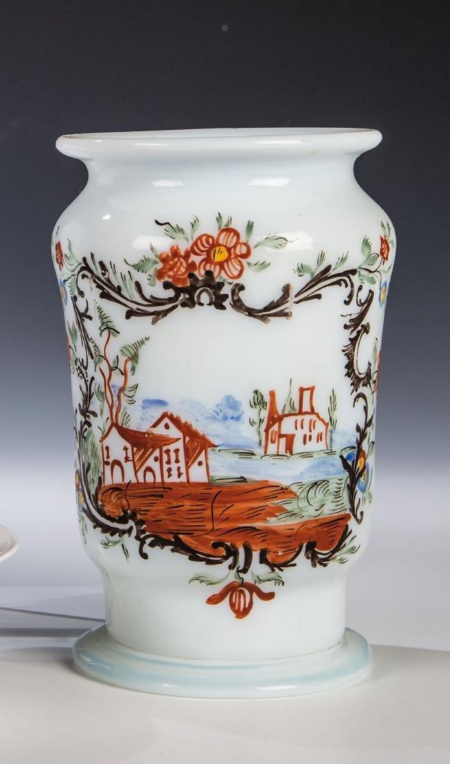 Apothekengefäß (Albarello) aus Milchglas