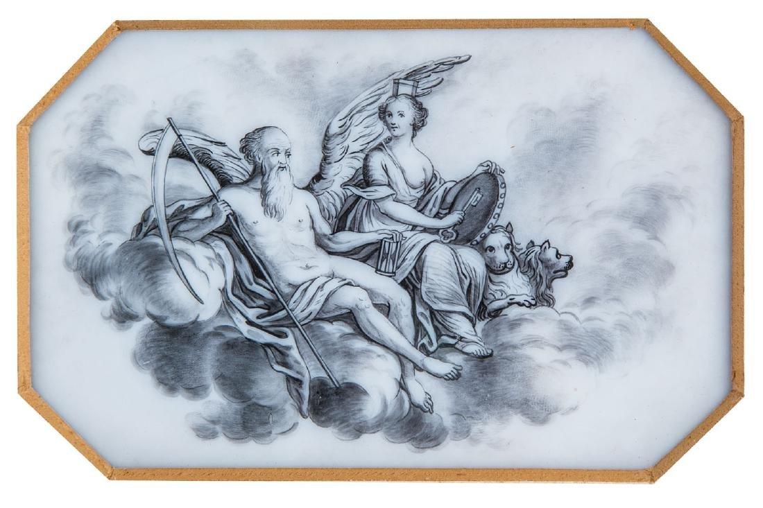 Paar Milchglasplatten mit antiken Gottheiten