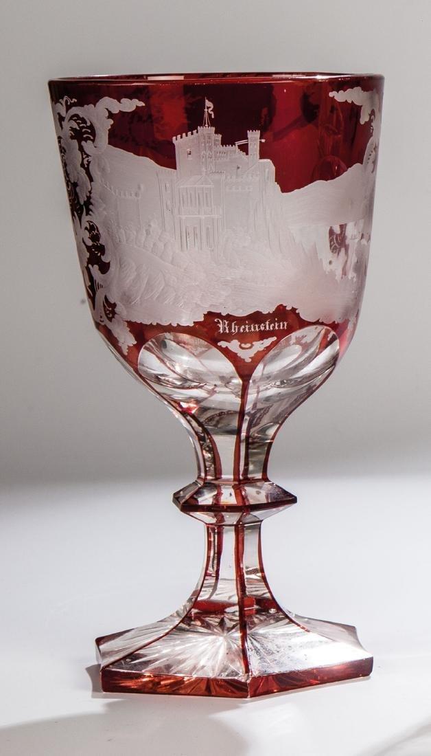 Pokal mit Ansichten von Rheinstein und Stolzenfels