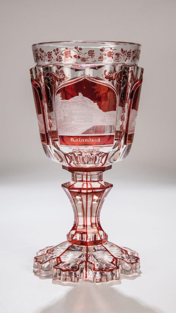 Pokal mit Rheinansichten