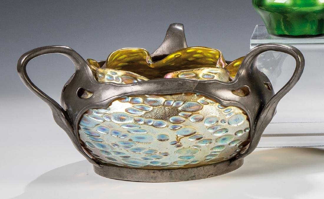 Vase mit Zinnmontage ''candia Diaspora Silberiris''