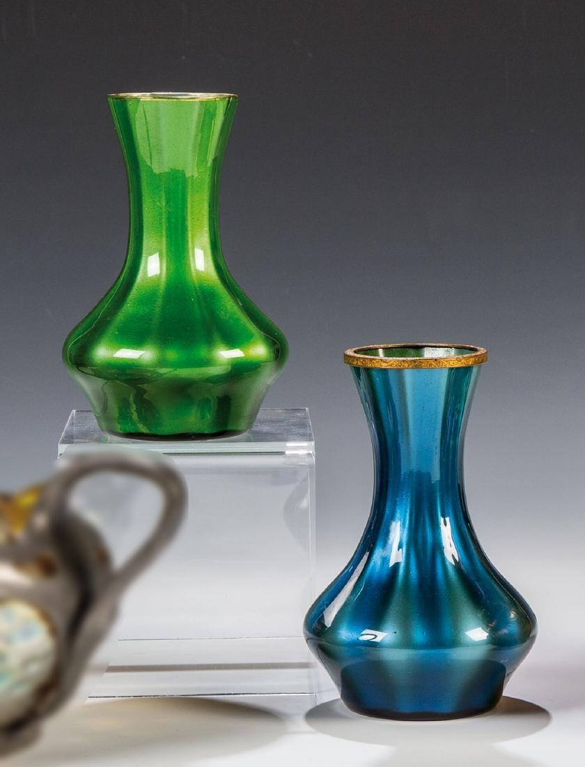 Paar Vasen ''grün und blau Metallin''