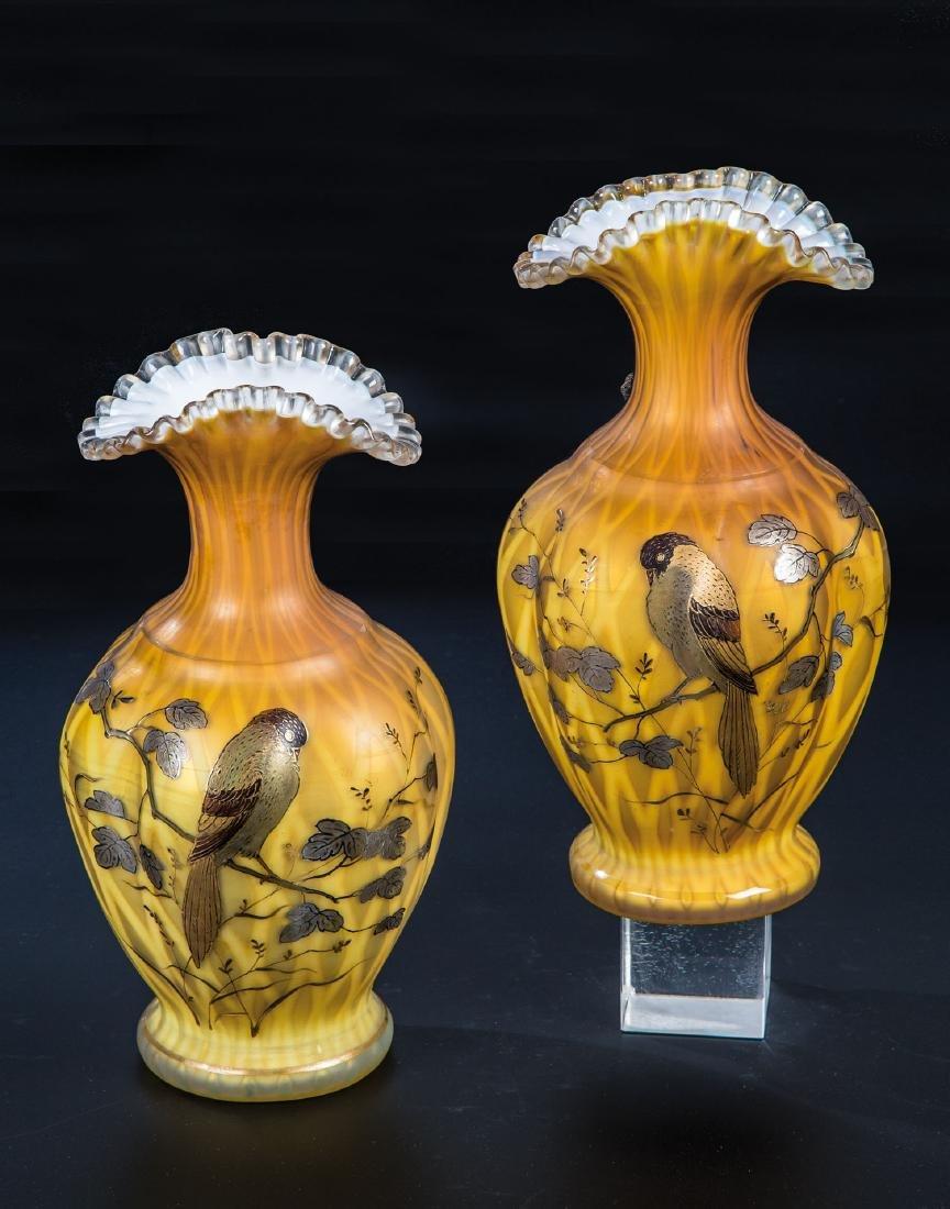 Paar Vasen mit Vogeldekor