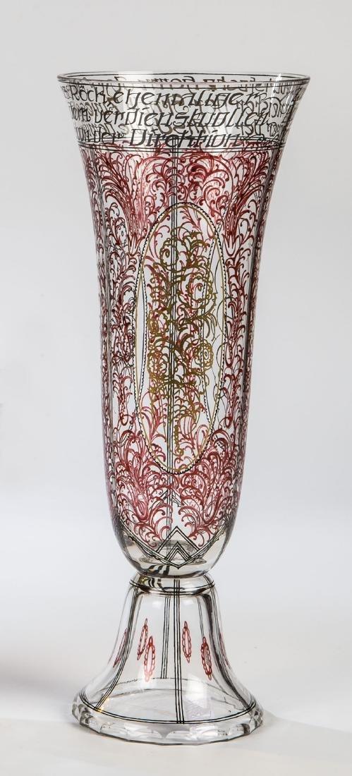 Seltene Vase mit Widmungsinschrift an Bü