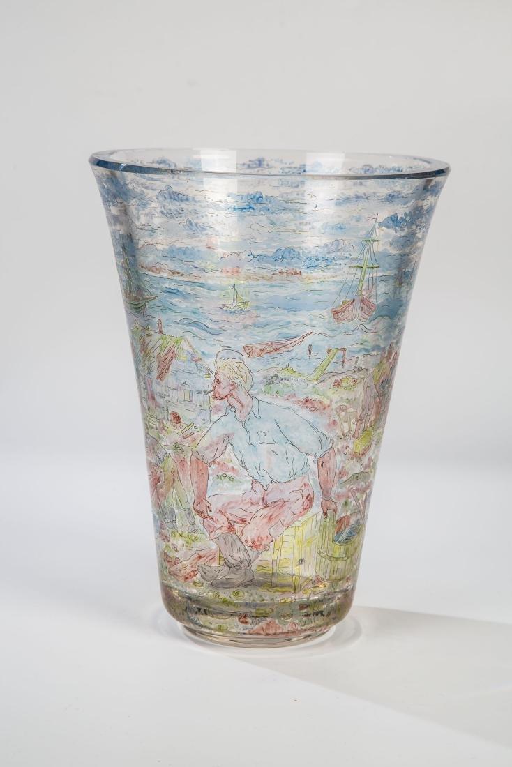 Große Vase mit Fischerszene