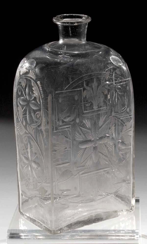 1073: Rechteckflasche vintage square glass bottle
