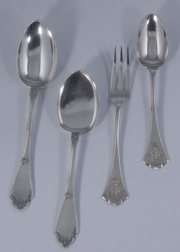 1166: 4x Russian cutlery vierteiliges Besteck Faberge