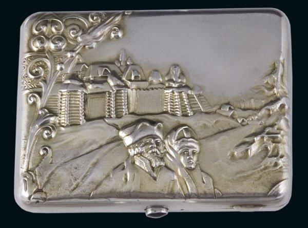 1182: Russian Silver Cigarette Case Moscow Etui