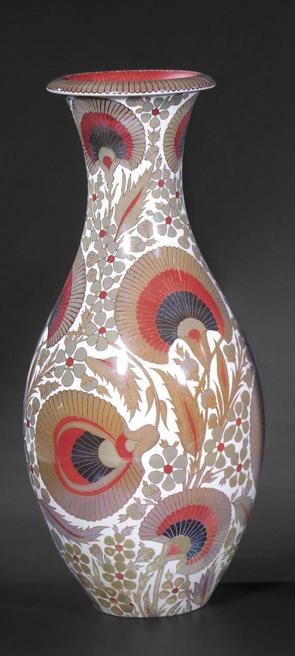 3017: Vase Zsolnay Pecs Hungary Porcelain-Faience