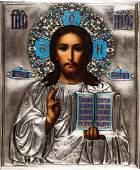 Christus Pantokrator mit Cloisonné-Email Oklad