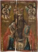 Signierte und datierte Ikone mit dem Heiligen Blasius