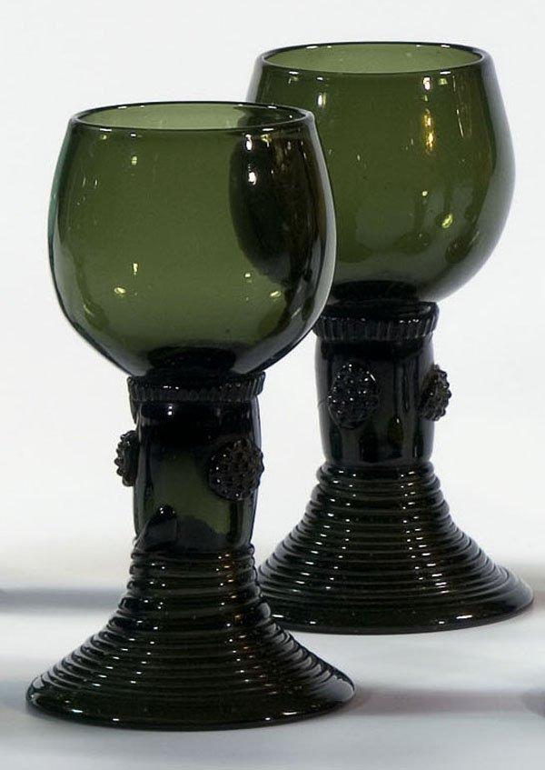 13: Paar Roemer pair Rummers Glass German Deutsch