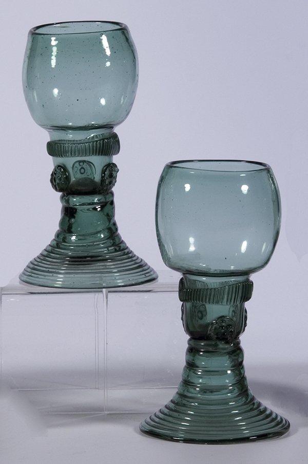 5: Paar Roemer Deutsch German pair rummer glass old