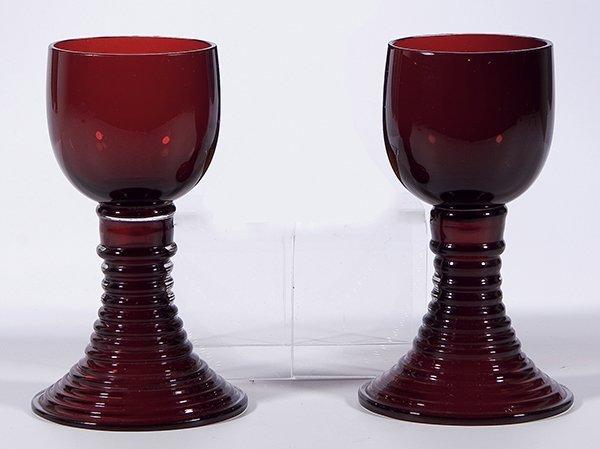 8: Paar Roemer Deutsch German pair rummer glass old