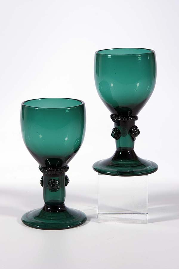 10: Paar Roemer Deutsch German pair rummer glass old