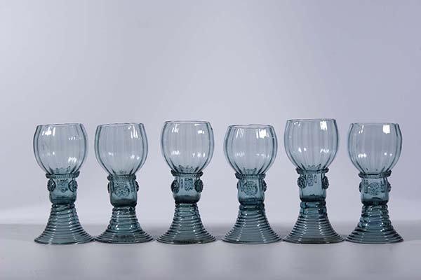 12: Satz Roemer Deutsch 6 rummers glass German old