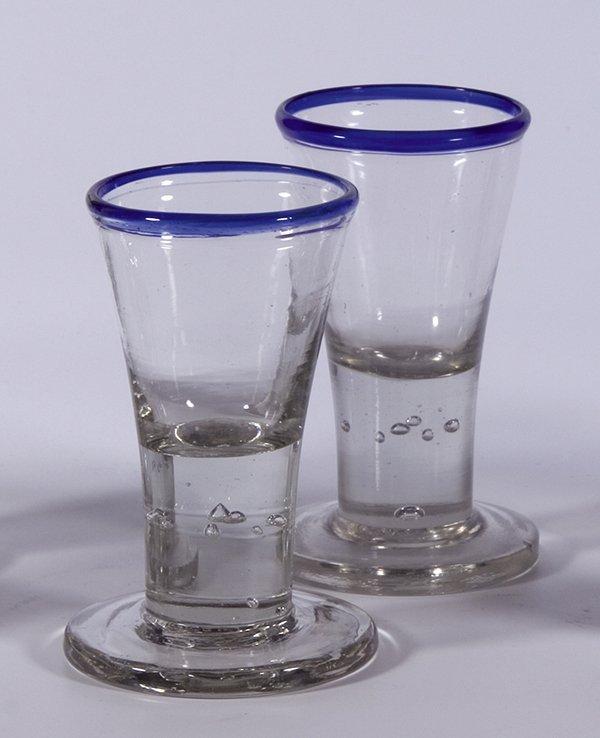22: 2 Schnapsglaeser Blaurand Liquor glasses German