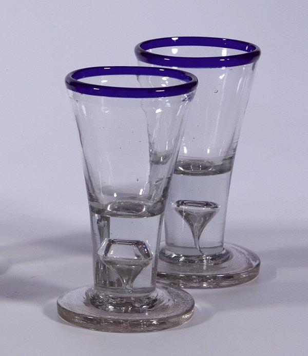 23: 2 Schnapsglaeser Blaurand Liquor glasses German