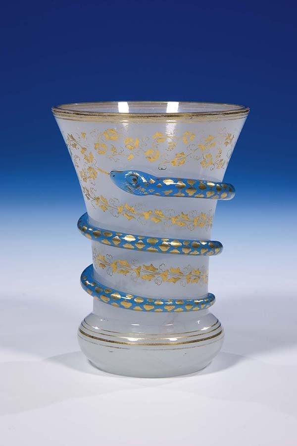 252: Becher Schachtenbach Glass Beaker Snake Vintage