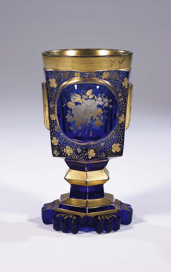 262: Becher Bohemia Glass Beaker Vintage Old Antique