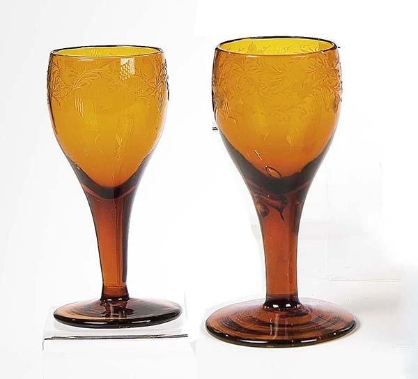 18: Paar Kelchglaeser German Pair Glass Beakers Old