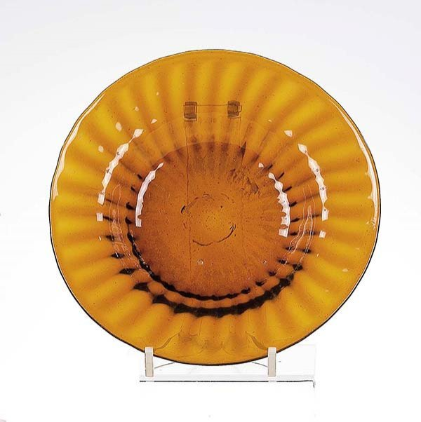 19: Teller German Brown Glass Plate Vintage Old