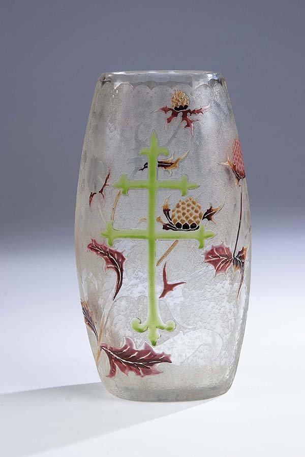 513: Vase Lorraine Cross Galle Nancy Glass Art Nouveau