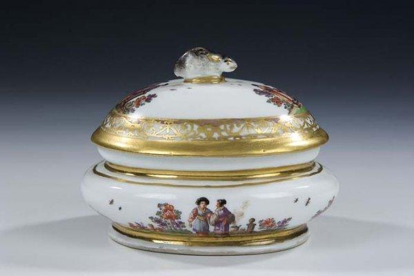 3: Zuckerdose Meissen Porcelian Sugar Bowl Vintage