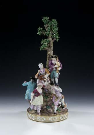 8: Rundgruppe Meissen Porcelain Group Vintage