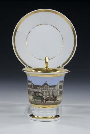 23: Tasse Untertasse German Porcelain Cup Saucer