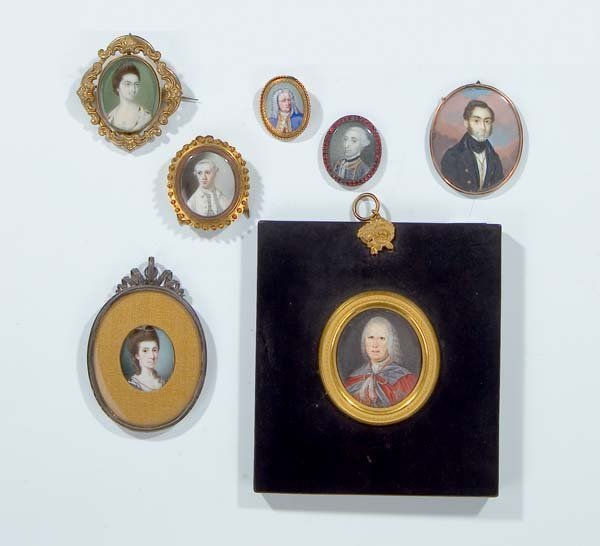 1158: 7x Miniaturen Miniatures Female Males signed