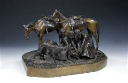 2247 Russian Bronze Group Wolf Hunt Lieberich