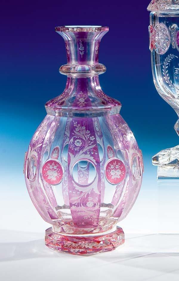 258: Karaffe Egermann Haida Glass caraffe vintage Old