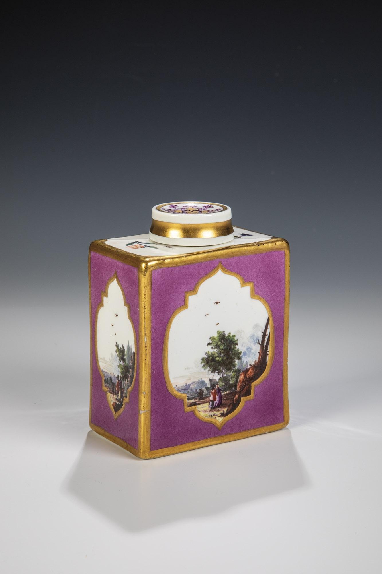 Grosse Teedose mit Kauffahrteiszenen