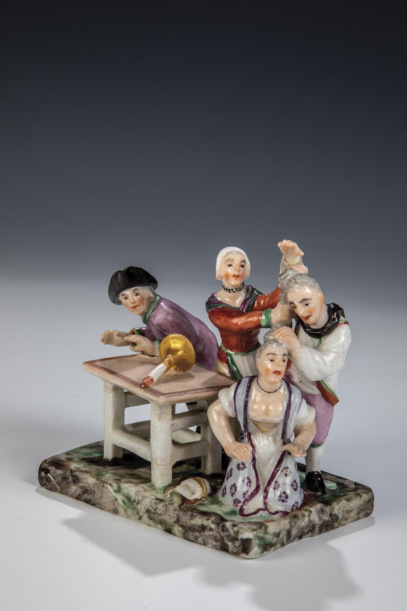 Miniaturgruppe ''Wirtshausszene mit Streit'' aus der