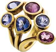 Giardinetto-Ring mit Tansaniten und Turmalinen