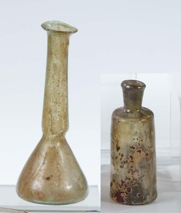 5: 2 Flaeschchen Glass Bottles Vintage Antique Old