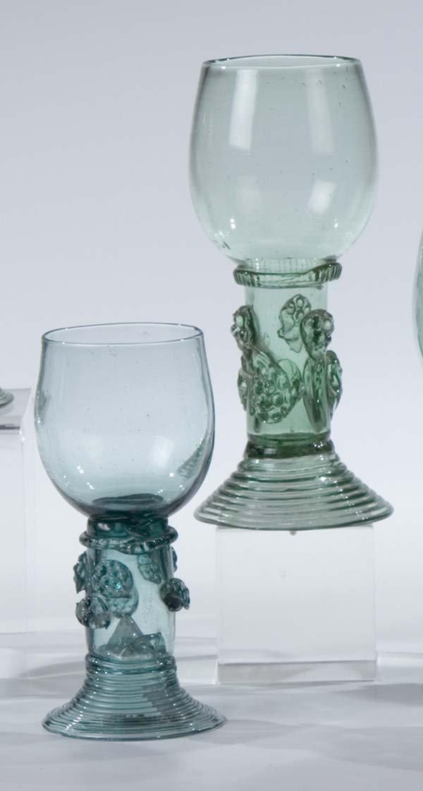 12: 2 Roemer German Glass Rummers Vintage Old Antique