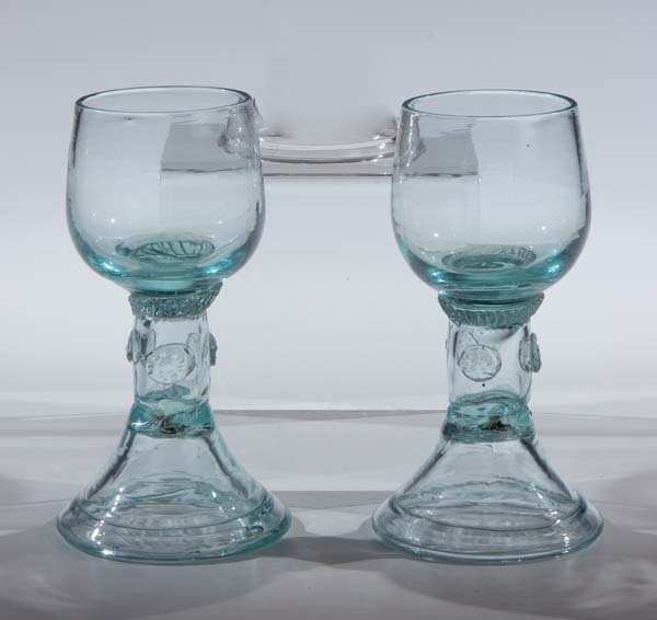 16: Paar Roemer German? Pair Glass Rummer Antique Old