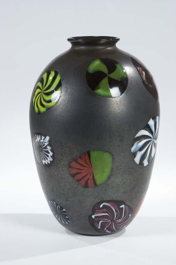 947: Vase Perelda Toso Murano Glass 'Nerox Stellato'